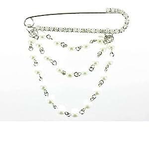 Claro Cristal sobre bañado en plata broche alfiler de imperdibles y perla