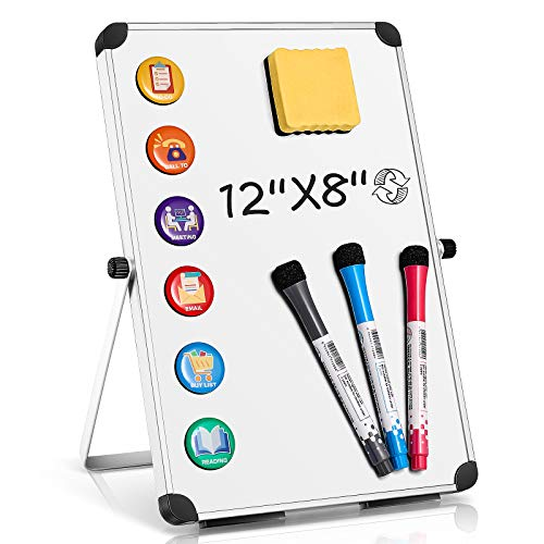 "Homemaxs Small White Board Dry Erase Board,White Magnetic Boards Portable Dry Erase Board for Kids and Students Double Sided Foldable Desktop Whiteboard for School Home Kitchen Office 12"" x 16"""