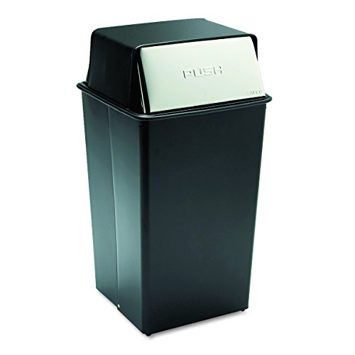 (Safco Products 9895 Reflections By Safco Push Top Trash Can, 36-Gallon, Black)