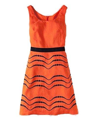 2 Dress Linen US Fun Details Embroidered Summer Orange BODEN Size gSYxzqCffw