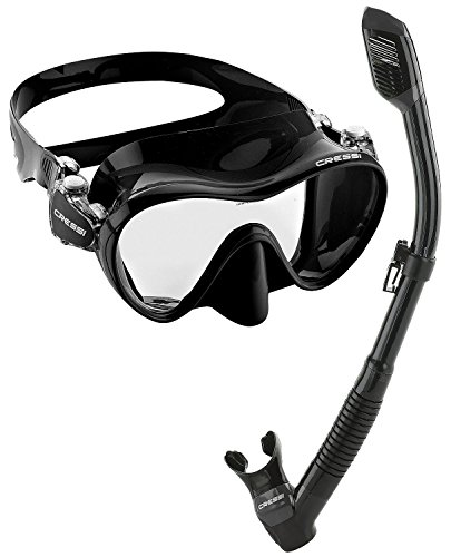 Snorkel Package Scuba Equipment - Cressi Scuba Diving Snorkeling Freediving Mask Snorkel Set, All Black
