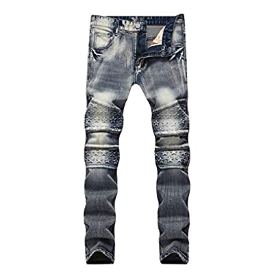 Top AACFCHAIN Men's Motorcycle Stretchy Slim Straight Fit Jeans Vintage Washed Denim Pants With Zipper for sale