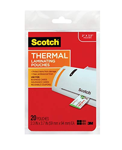 Scotch Thermal Laminating Pouches, 2.3 x 3.7-Inches, 20-Pack ()