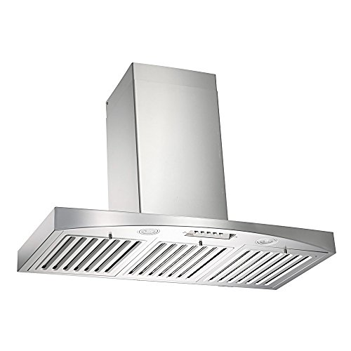 KOBE RA3830SQB-WM-5 Deluxe 30″ Wall Mount Range Hood, 3-Speed, 680 CFM, LED Lights, Baffle Filters