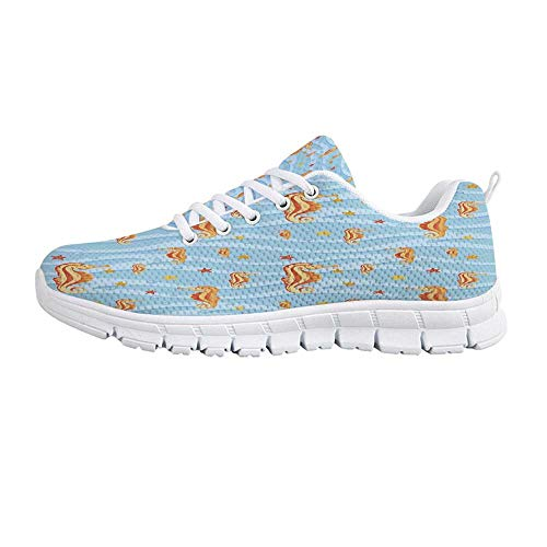 (Animal Decor Comfortable Sports Shoes,Water Bubbles on Surface with Seahorse and Sea Star in Waves Coast Tropical for Men & Boys,US Size 6.5)