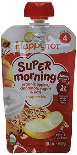 (Happy Tot Organic Stage 4 Super Morning, Apple Cinnamon, Yogurt, & Oats + Super Chia, 4 Ounce (Pack of 8) )