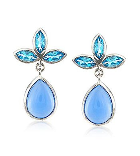 Blue Chalcedony and Blue Topaz Drop Earrings (Blue Topaz Chalcedony Earrings)