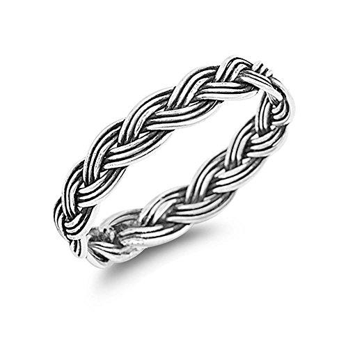 Glitzs Jewels Sterling Silver Braid Ring, 4mm (3) ()