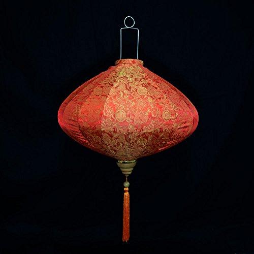 Quasimoon PaperLanternStore.com 12 Inch Red/Orange Vietnamese Silk Lantern, Diamond
