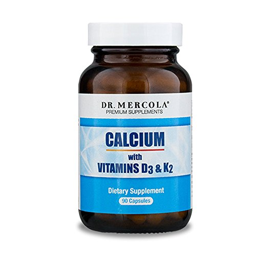 Dr. Mercola, Calcium with Vitamins D3 & K2 Dietary Supplement, 90 Servings (90 Capsules), Supports Bone Health, Supports Cardiovascular Health, Non GMO, Soy Free, Gluten Free
