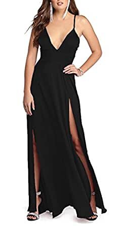 PearlBridal Women's Satin Deep V Neck Evening Gowns