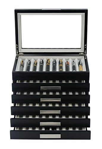 60 Piece Black Ebony Wood Pen Display Case Storage and Fountain Pen Collector Organizer Box with Glass Window Six Level Display Case with Drawers