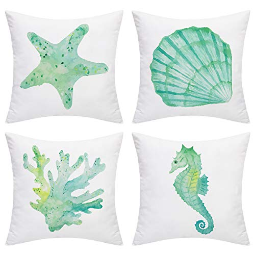 BLEUM CADE Ocean Theme Throw Pillow Covers Seahorse Shell Starfish Coral Pillow Cover Set of 4 Decorative Pillowcase for Sofa Bed Car Office (Light Blue, 18 x 18 Inch)