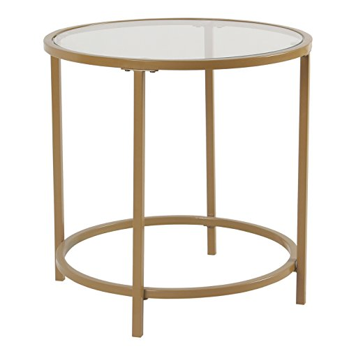 Spatial Order Round Metal Accent Table Glass Top, Gold (Tables Large Accent)