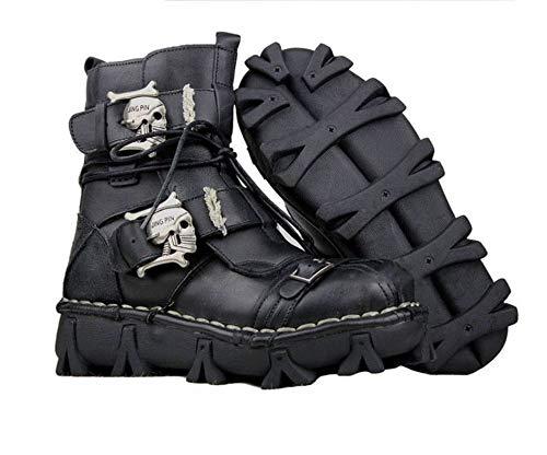 Crâne Punk Bottes Bottes Bottes Gothique Cuir Noir Militaire Uomo 5MUS 9 Armée   619b6a