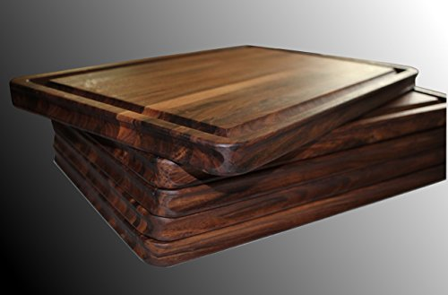 Walnut Cutting Board, Edge Grain, Reversible, Hardwood Chopping and Carving Countertop, Carved Inset Handles, by Pacific Wood. Handmade In the USA 14 x 20 x 1 IN. - Roast Countertop