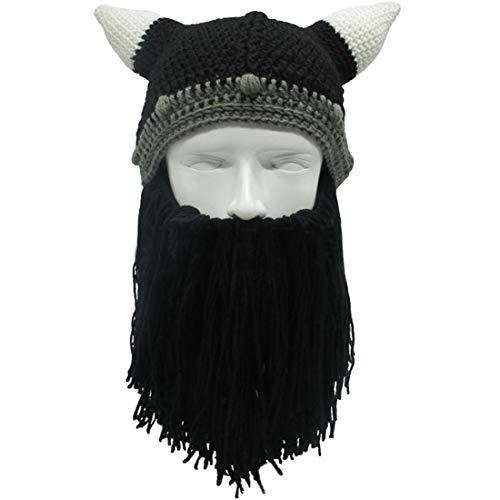 c50524503b8 Lerben Men Women Knit Bearded Hats Handmade Wig Winter Warm Ski Mask Beanie  (Black)