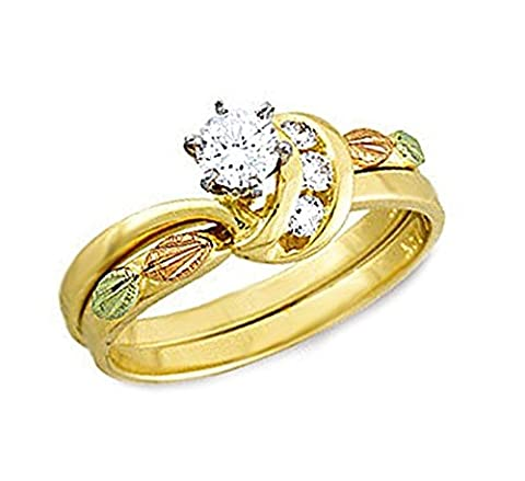 Diamond Bridal Set Engagement and Wedding Ring, 10k Yellow Gold, 12k Green and Rose Gold Black Hills Gold Motif, Size - Black Hills White Gold Bands