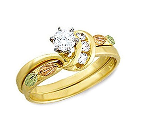 Diamond Bridal Set Engagement and Wedding Ring, 10k Yellow Gold, 12k Green and Rose Gold Black Hills Gold Motif, Size 7 by Black Hills Gold Jewelry
