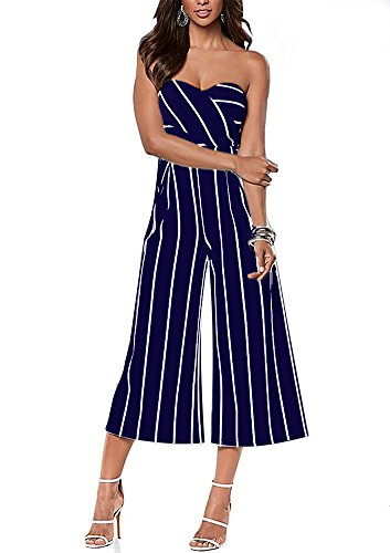 Mojessy Women's Strapless Stripe High Waist Wide Leg Long Pants Jumpsuits Rompers (S, Navy)