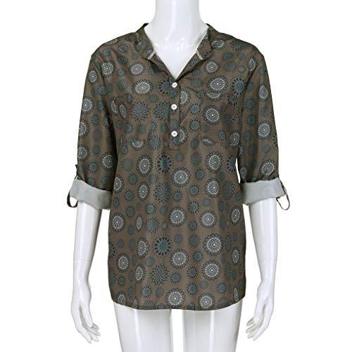 T Femme Subfamily Fleurs Chemiser Manches Chemise Longues Haut Top d'automne lache Manches Blouse Longues Arme verte Shirt nU0wqUFHgS
