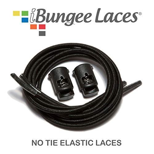 (iBungee No Tie Shoelaces (Elastic) (with Shoe Lace Locks) - Premium Stretch Laces - Easy Installation, Sized Bungee (Made in The USA), (Black, 42-Inch))