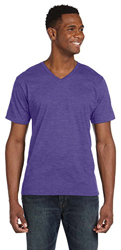 Anvil Lightweight V-Neck T-Shirt, Large, HEATHER PURPLE