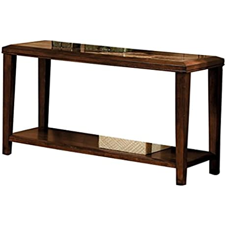 Homelegance Belvedere Modern Design Sofa Table With Faux Marble Inlay Tabletop Espresso