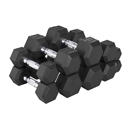 CAP Barbell 150-lb Rubber Hex Dumbbell Weight Set, Black, Large (SDRS-150-2), Large (Cap Barbell Set)