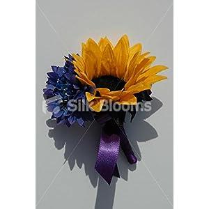 Contemporary Orange Sunflower Buttonhole with Blue Cornflower 28