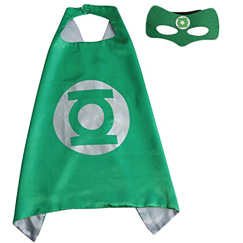 Bikini Factory Halloween Christmas Kid Superhero Cape and Mask Cosplay Costume (The Green Lantern) (Green Lantern Womens Costume)