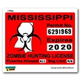 Mississippi MS Zombie Hunting License Permit Red - Biohazard Response Team - Window Bumper Locker Sticker