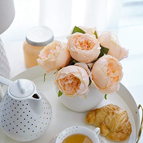 Butterfly Craze Artificial Peony Silk Flower Bouquet for Wedding Floral Arrangements and Home Decoration - Peach Color, 5 Stem Per Set ()