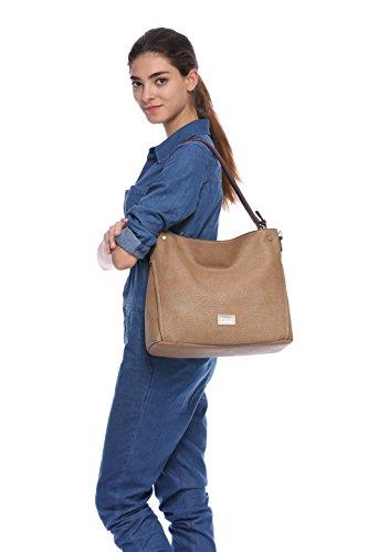 La Cle LA-055 Big Grainy Soft Leather Hobo Shoulder Bag(Light (Grainy Leather)