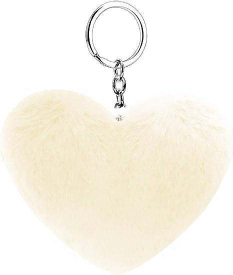 Fabulous supersoft véritable fourrure de lapin coeur pompon sac charm keychain