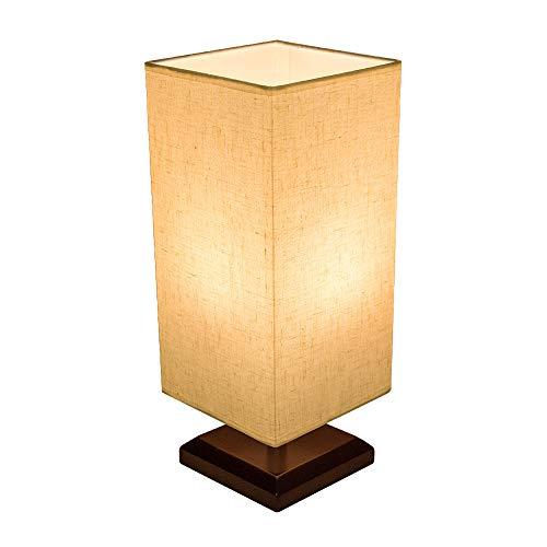 Bedside Table Lamp Bulb Included Solid Wood Table Lamp Bedside Desk Lamp Nightstand Lamp Fabric Shade Modern Night Light for Kids Bedroom, Dresser, Living Room, College Dorm, Coffee Table, Bookshelf