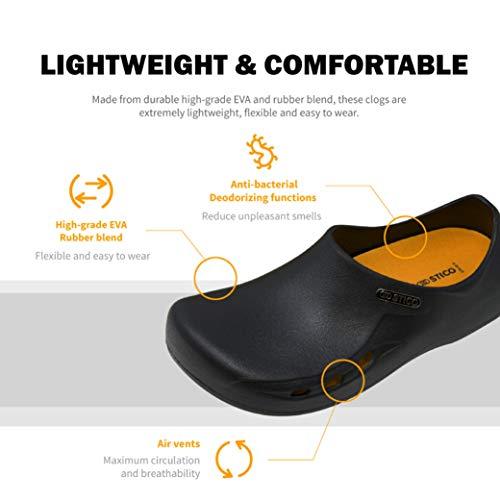 STICO Men's Slip Resistant Chef Clogs, Professional Non-Slip Work Shoes with Air Vents for Restaurant Hospital Nursing Garden [Black/US Men 9] by Stico (Image #3)
