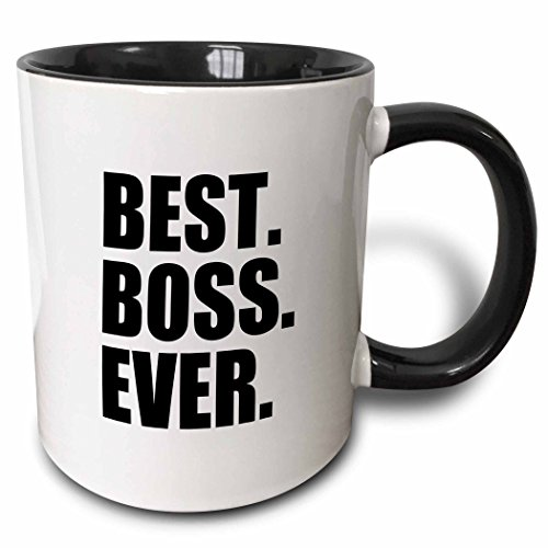 3dRose Best Boss Ever Fun Funny Humorous Gifts for The Boss Work Office  Humor Black Text Two Tone Black Mug, 11 oz, Black/White