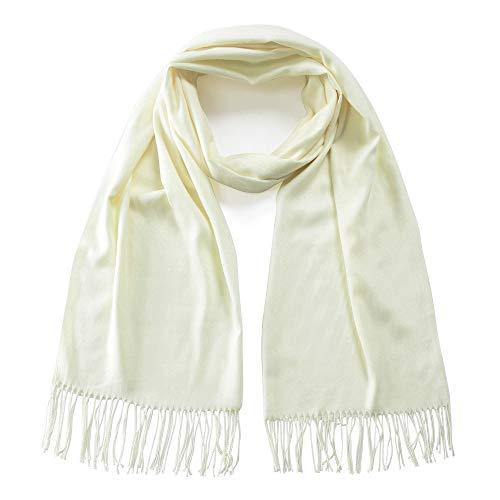 Makroyl Large Solid Colors Pashmina Shawl Wrap Scarf Cashmere Warm Soft Scarves (Ivory)