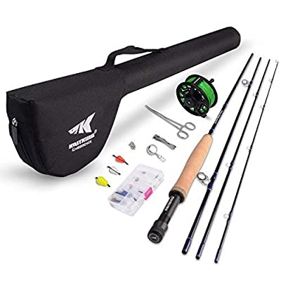 KastKing Emergence Fly Fishing Combo - 4 Piece Graphite Fly Fishing Rod, Pre-Loaded Aluminum Fly Fishing Reel, Accessories and 12 Popular Flies - with a Protective Travel Case - Super Value!
