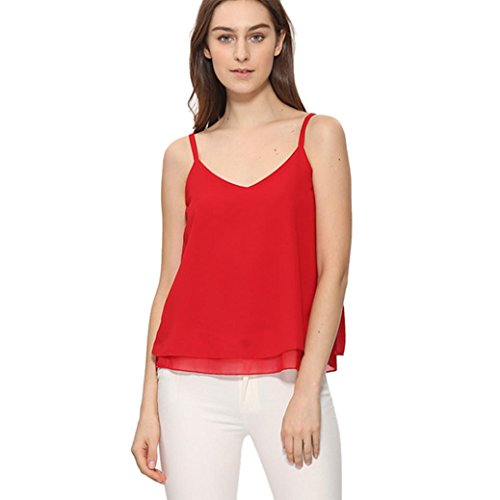 WOCACHI Christmas Final Clear Out Women Blouse Summer Chiffon Vest Top Sleeveless Casual Tank Loose Tops T-Shirt Black Friday Cyber Monday Deals