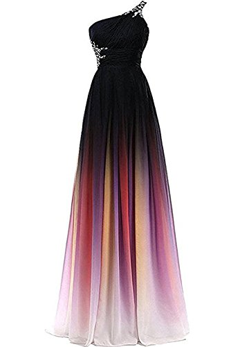 Sunvary Colorful Bridesmaid Sleeveless Pink3 Gown Prom Dresses Gradient Women's Chiffon Long Formal BBrRfxCw