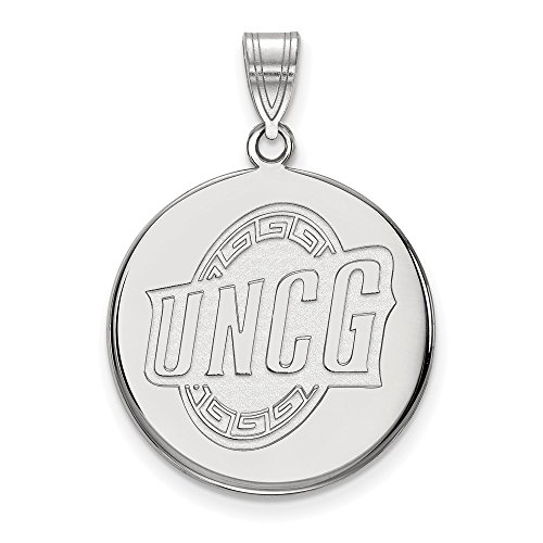 Jewelry Stores Network UNCG North Carolina Greensboro School Letters Logo Sterling Silver Disc Pendant L - (22 mm x 21 - Sterling Pendant Logo Silver Jewelry