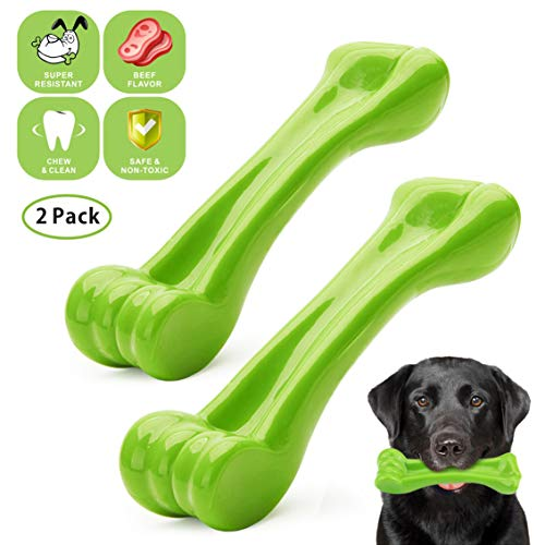 Idepet Dog Chew Toys Bone Tooth Cleaning Indestructible Beef Flavor Tough Bite Resistant Toy Pet Chew Toy for Puppy 2 Pack (L)