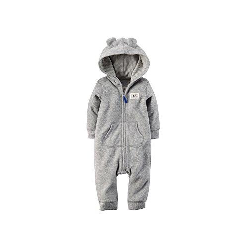 Carter's Baby Boys' Hooded Fleece Jumpsuit (18 Months, Grey Raccoon)