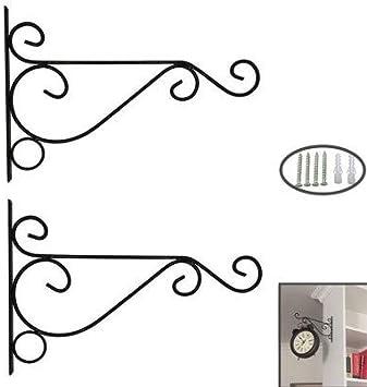 KSS Gancho de pared de hierro para colgar plantas, soporte de cesta de hierro forjado para faroles, colgador de flores, valla de comedero de pájaros, negro