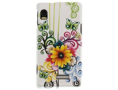 A955 Snap (Motorola Droid 2 A955 Crystal Design Case - White with Flower and Butterfly Design)