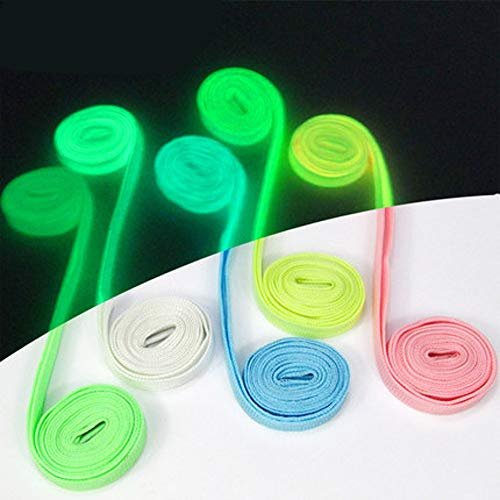 HUISEN 5 Pair Luminous Flat Shoelaces Colorful Fluorescent