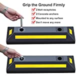 2 Pack Rubber Parking Guide Blocks Heavy Duty Wheel Stop Stoppers for Car Garage Parks Professional Grade Parking Rubber Curb w/Yellow Refective Stripes for Truck RV Trailer