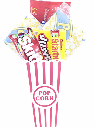 Movie Night Popcorn and Candy Gift Basket ~ Includes Movie Theater Butter Popcorn and Concession Stand Candy (Jujyfruit)